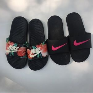 black Nike Slides bundle of 2